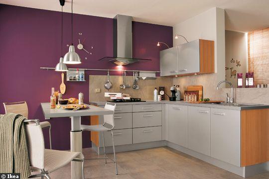 Carrelage et murs pour ma nouvelle cuisine for Cuisine blanche mur aubergine