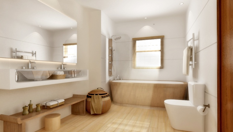 Baño Moderno Con Banera:Bathroom Design