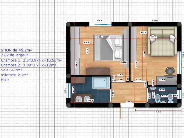 Besoin d 39 aide pour plan d 39 une extension 20 messages for Salle de bain entre deux chambres